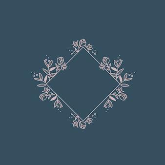Vetor de elemento de design de quadro botânico em branco