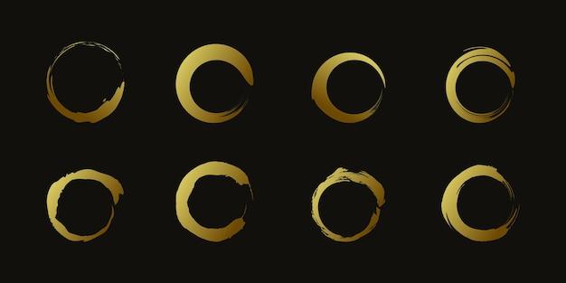 Vetor de elemento de escova de círculo com forma dourada criativa premium vector parte 3