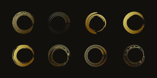 Vetor de elemento de escova de círculo com forma dourada criativa premium vector parte 4