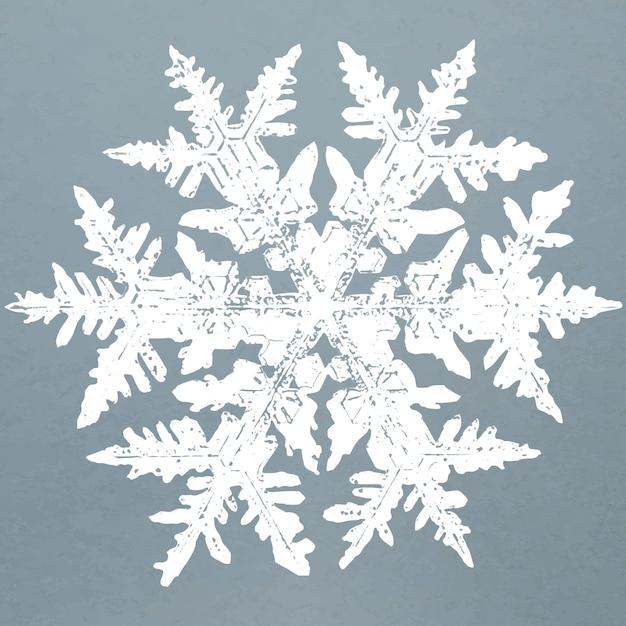Vetor de elemento de flocos de neve realista em fundo azul