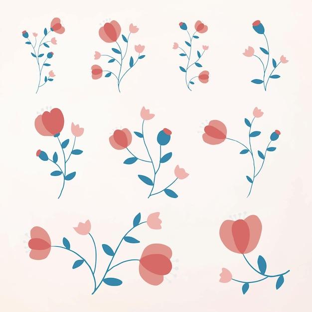 Vetor de elemento de flor rosa fofa definido estilo feminino