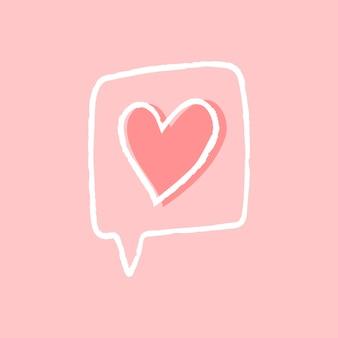 Vetor de elemento de mensagem de amor em estilo doodle