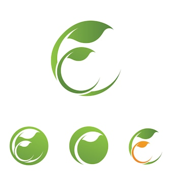 Vetor de elemento de natureza de logotipo de ecologia de folha de árvore verde