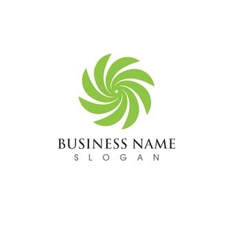Vetor de elemento de natureza de logotipo de folha de árvore verde