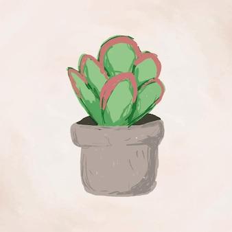Vetor de elemento de planta fofa em vaso kalanchoe luciae flapjacks em estilo desenhado à mão