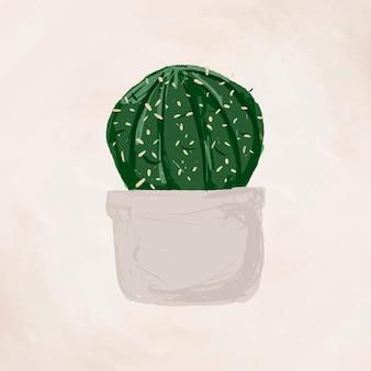Vetor de elemento de planta fofo em vaso gymnocalycium parvulum em estilo desenhado à mão