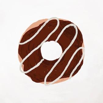 Vetor de elemento de rosquinha com cobertura de chocolate e estilo bonito desenhado à mão