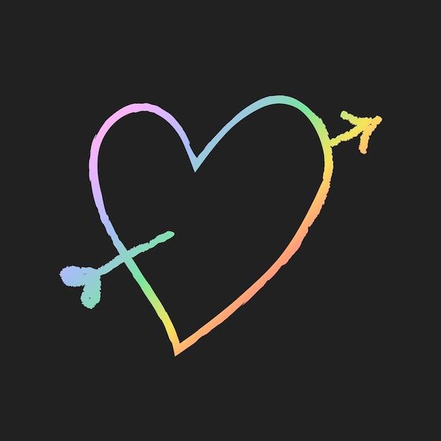 Vetor de elemento de seta em forma de coração em estilo doodle