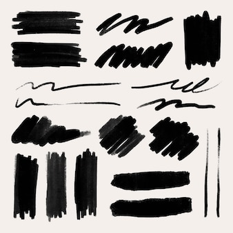 Vetor de elemento de traçado de pincel de tinta definido em preto