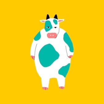 Vetor de elemento de vaca gordinha em fundo amarelo