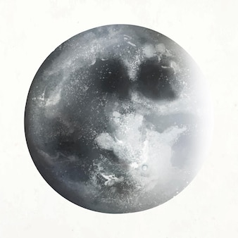 Vetor de elemento lua realista em fundo branco