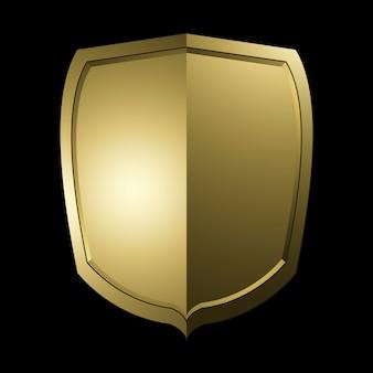 Vetor de elementos de escudo barroco dourado