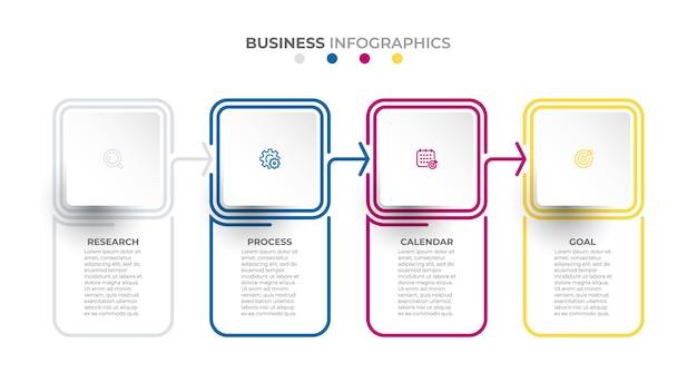 Vetor de elementos de linha fina modelo de conceito de negócio com 4 opções ou etapas