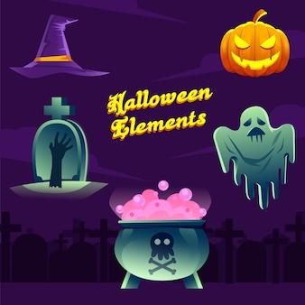 Vetor de elementos do halloween