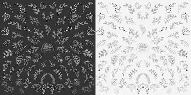 Vetor de elementos florais desenhados à mão
