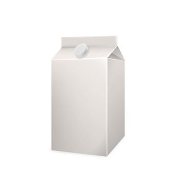 Vetor de embalagem de caixa de papelão em branco para bebidas com leite