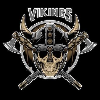 Vetor de emblema de guerreiro caveira de vikings