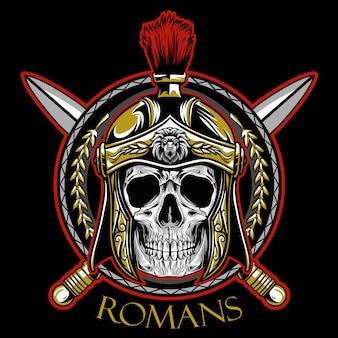 Vetor de emblema de guerreiro de crânio de romanos