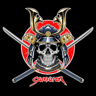 Vetor de emblema de guerreiro de crânio de samurai