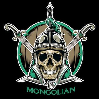 Vetor de emblema de guerreiro de crânio mongol