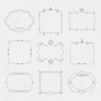 Vetor de emblema de luxo definido com floreios ornamentais vintage