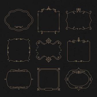 Vetor de emblema de ouro definido floreios ornamentais vintage