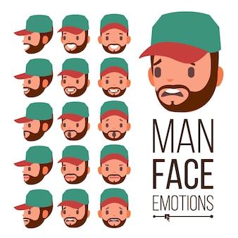 Vetor de emoções do homem. cara masculina variedade de emoções. expressões faciais diferentes