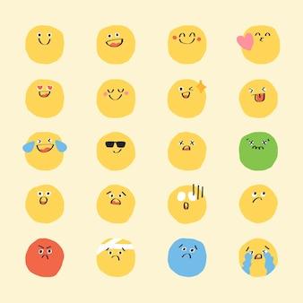 Vetor de emoticon fofo de doodle conjunto de adesivo digital