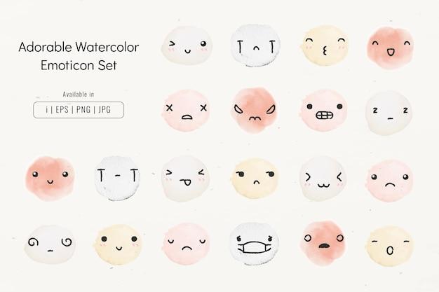 Vetor de emoticons de aquarela editáveis em um adorável conjunto de estilo de doodle