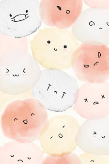 Vetor de emoticons fofos de fundo com sentimentos diversos em estilo doodle