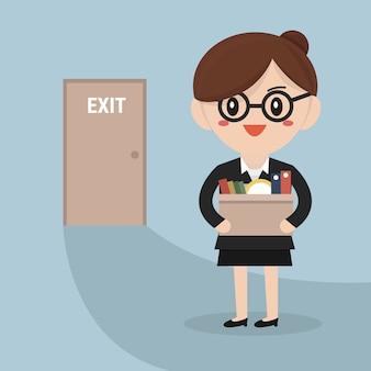 Vetor de empresária deixando trabalho