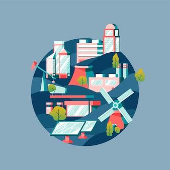 Vetor de energia alternativa em azul