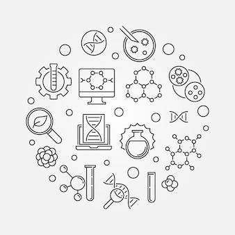 Vetor de engenharia biológica rodada ilustração minimalista em estilo de linha fina