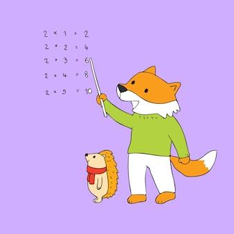 Vetor de ensino bonito da raposa e do ouriço dos desenhos animados.