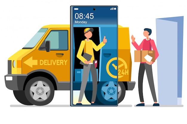 Vetor de entrega em domicílio símbolo courier