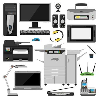 Vetor de equipamento de escritório de computador