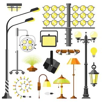 Vetor de equipamento elétrico de estilos de lâmpadas