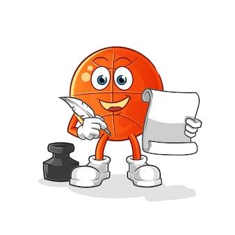 Vetor de escritor de basquete. personagem de desenho animado