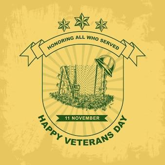 Vetor de escudo de modelo de dias de veteranos