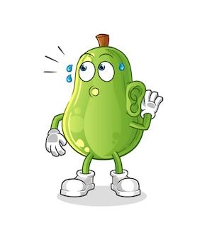 Vetor de escuta de abacate. personagem de desenho animado