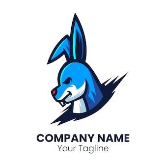 Vetor de esporte de logotipo de mascote de cabeça de coelho
