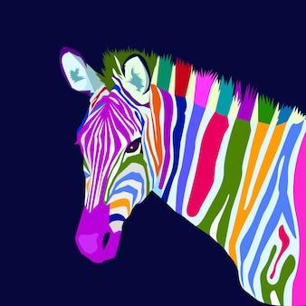 Vetor de estilo de arte pop de conceito de zebra colorido