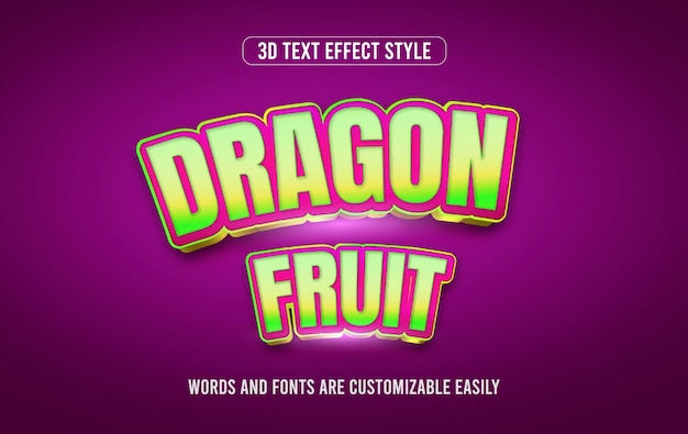 Vetor de estilo de efeito de texto 3d colorido fruta do dragão