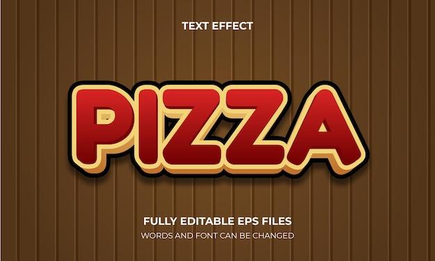Vetor de estilo de efeito de texto 3d de pizza