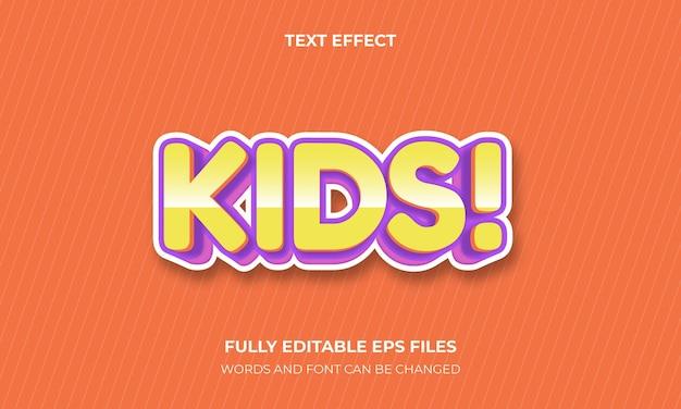 Vetor de estilo de efeito de texto 3d para crianças