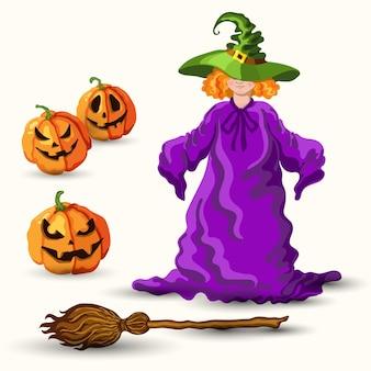 Vetor de estilo desenho animado jovem bruxa de chapéu verde, vassoura mágica e lanterna de abóbora de halloween isolada no fundo branco