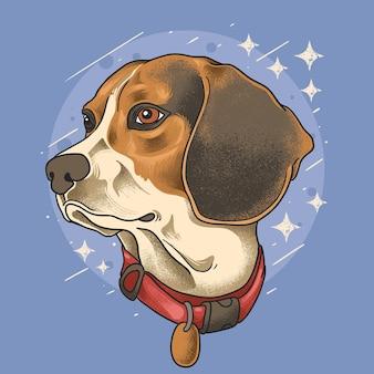 Vetor de estilo grunge de ilustração de cabeça de cachorro fofo