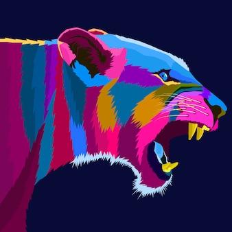 Vetor de estilo pop art leão colorido