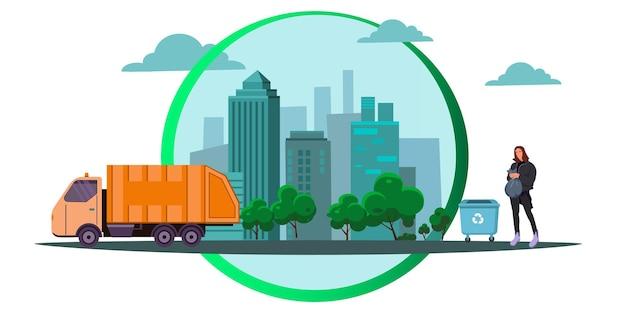 Vetor de estoque conceito de ecologia conceito de eco friendly salve o planeta cidade moderna resíduos zero