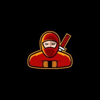 Vetor de estoque de design de logotipo ninja